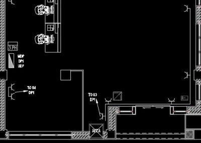 نقشه کشی تاسیسات برق ساختمان اداری (پلان پریزهای برق)