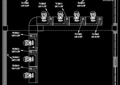 آموزش نقشه کشی تاسیسات برق ساختمان اداری (پلان کابل شبکه و کامپیوتر)