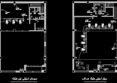آموزش نقشه کشی تاسیسات برق  ساختمان اداری (پلان سیستم اعلام سرقت)