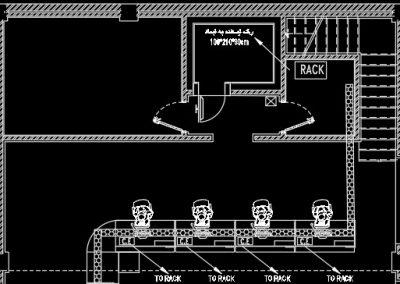 آموزش نقشه کشی تاسیسات برق  ساختمان اداری (پلان سیستم صوتی)
