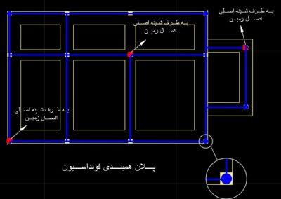 طراحی تاسیسات الکتریکی یک ساختمان 6 طبقه با Autocad (پلان همبندی اسکلت ساختمان)